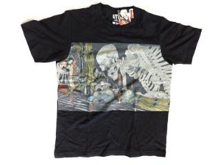 がいこつのTシャツ 黒 歌川国芳の江戸浮世絵