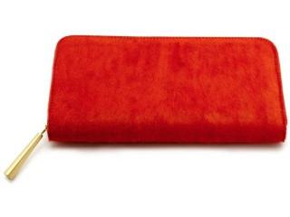 良い革の長財布 オレンジレッド
