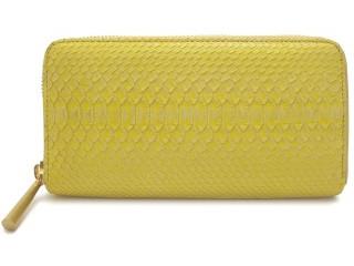 日本製でかわいいヘビ革の財布 イエロー