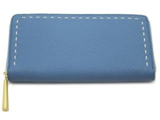 ブルーの日本製革製長財布