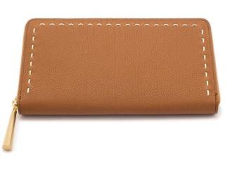 波線がかわいい日本製の革の長財布 キャメル