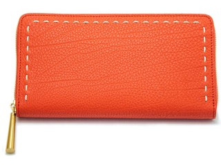 日本製、革の長財布 オレンジ