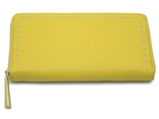 日本製できれいな定番の革の長財布 イエロー