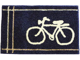自転車デザインのオシャレなマット ブルー