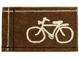 自転車が描かれたヴィンテージデザインのオシャレなマット ブラウン
