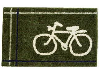 自転車が描かれたヴィンテージデザインのオシャレなマット グリーン