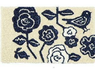 花と鳥の描かれたおしゃれなマット